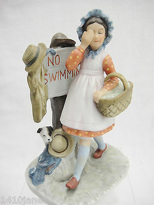 """Norman Rockwell No Swimming Figurine by Gorham 1974 Girl Covering Eyes 6"""" Tall"""