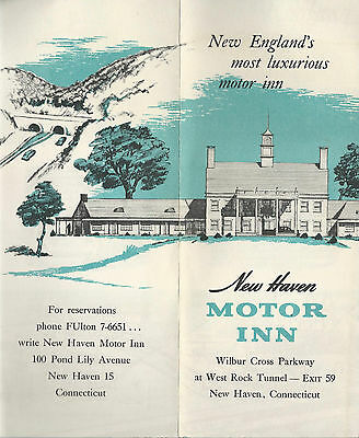 New Haven Motor Inn New Haven Connecticut  Vintage 1950's Travel Brochure Map