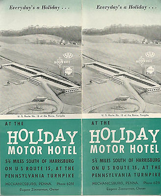 Holiday Motor Hotel Harrisburg PA Vintage 1950's Travel Brochure Photos Map