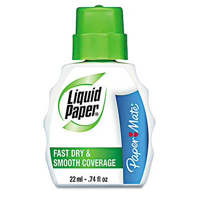 Paper Mate Liquid Paper Fast Dry Correction Fluid, 22 ml Bottle, White, Each