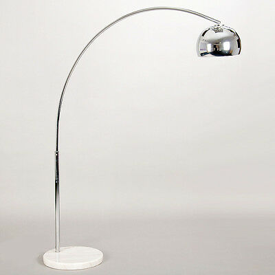 Modern Silver Chrome & White Marble Base Arco Style Arc Floor Standard Lamp NEW