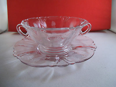 Beautiful Heisey Queen Ann Etched Cream Soup Bowl & Underplate Clear Glass