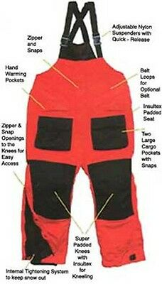 Arctic Armor Floating Extreme Weather Bibs Red XL Ice Fishing Suit