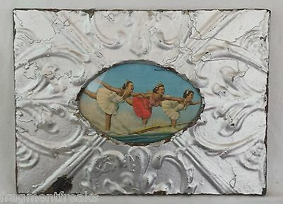 """Antique Ceiling Tin Picture Frame Oval 4"""" x 6"""" Silver LJ2"""