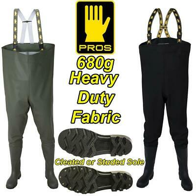 PROS680g DELUXE HEAVY DUTY CHEST WADERS FISHING GREEN OR BLACK