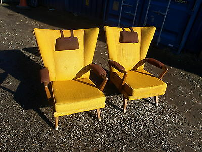 A PAIR OF ORIGINAL VINTAGE RETRO G PLAN WING BACK CHAIRS