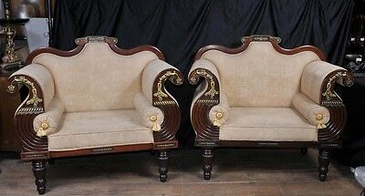 Pair Antique Thomas Hope Settee Seats Mahogany Parcel Gilt Chairs Couch • £3,850.00