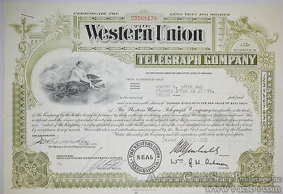 Stock Certificate 1965 Western Union Telegraph 12 shares Green Common Stock.