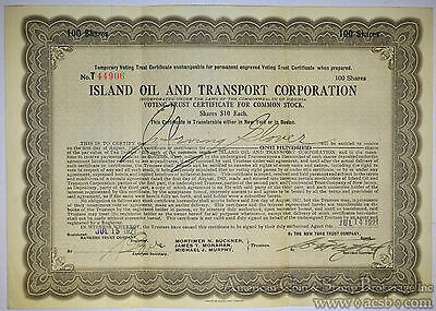 Stock Certificate Island Oil Transport Corporation 100 shares 1921 $10.
