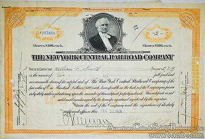 Stock Certificate New York Central Railroad Company W/ Legal Transfer Papers 192