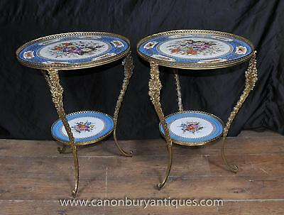 Pair Sevres French Porcelain Cocktail Tables Side Table
