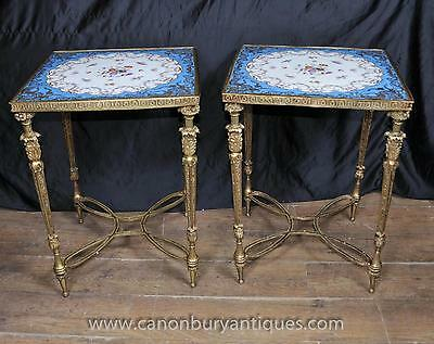 Pair Sevres Porcelain Ormolu Side Tables Floral Motif Cocktail Table