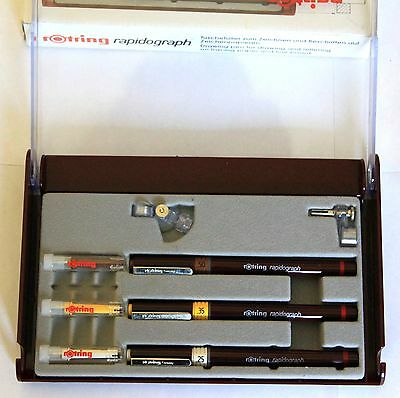 Rotring  3er Rapidograph Set  in der Klappbox  Neue Kegel