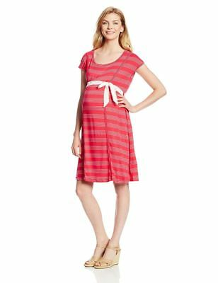 New Japanese Weekend Maternity Nursing Casual Red Nautical Stripe Jersey Dress