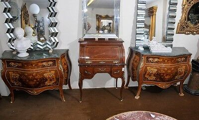 Pair French Bombe Chests of Drawers Commodes Empire Marquetry Inlay