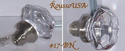 OLD TOWN SIX POINT 24% Lead CRYSTAL KNOBS BRUSH NICKEL