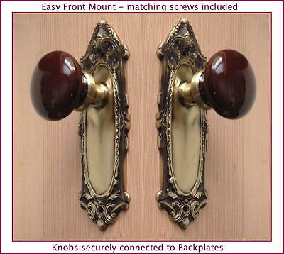 Two Estate Type Leaf'n Shell French Door Ceramic Porcelain Knob-Easy Front Mount • CAD $189.66