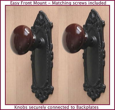 Two Estate Type Leaf'n Shell French Door Ceramic Porcelain Knob-Easy Front Mount