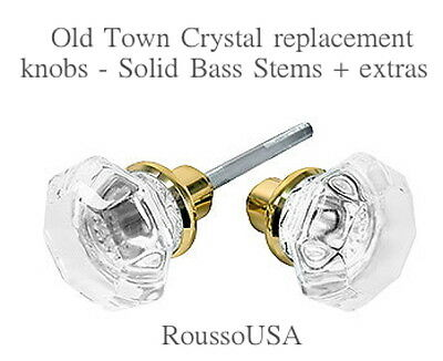 Best 24% Lead Crystal OLD TOWN Replacement Passage Door Knobs-Polished Brass