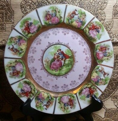 VTG~COURTING COUPLE~CABINET PLATE~PINK~GOLD BORDER~13 SCENES~ROMANCE~HANDPAINTED