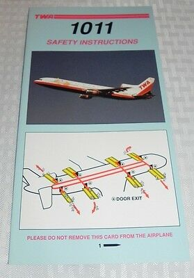 Twa Lockheed L-1011 Safety Instructions Card Excellent Condition 11/95 Nos