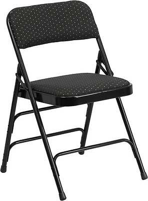Lot Of 4 Hercules Series Curved  Black Patterned Fabric Folding Metal Chair