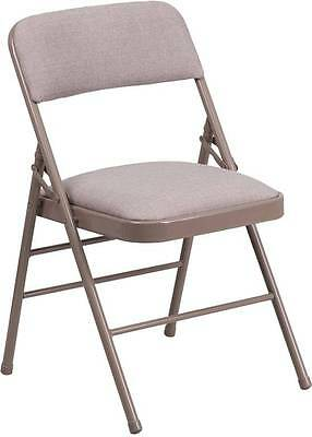 Lot Of 4 Hercules Series Beige Fabric Upholstered Metal Folding Chair