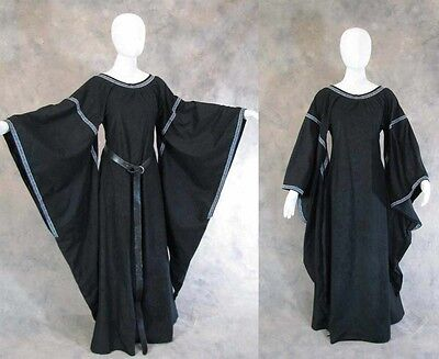 Black Medieval Bell Sleeve Dress Gown Game of Thrones Cosplay LOTR LARP 2X 3X