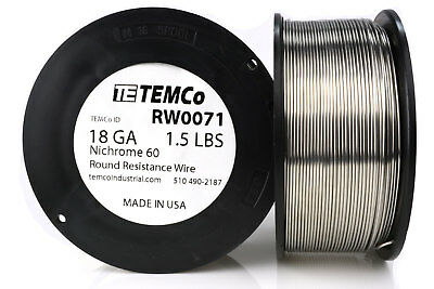 TEMCo Nichrome 60 series wire 18 Gauge 1.5 lb (333 ft)Resistance AWG ga