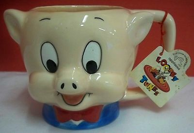 Looney Tunes Porky Pig Ceramic Mug Cup With Hang Tag Applause Indonesia 1989