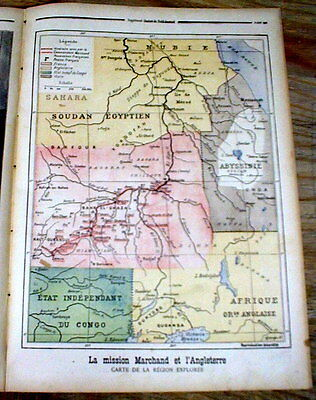 Large 1898 Color Map of AFRICA during EUROPEAN COLONIALISM SCRAMBLE for AFRICA
