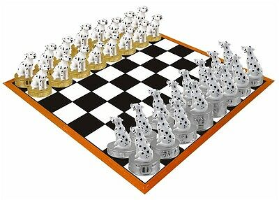 Hand Painted  Stone Resin Dalmatian Figurine Chess Set - Board Not Included