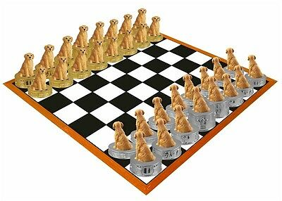 Hand Painted  Stone Resin Golden Retriever Figurine Chess Set Board Not Included