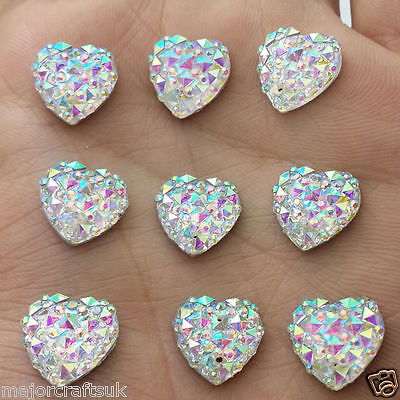 24pcs Crystal AB 12mm Flat Back Heart Sew On Resin Rhinestones Button Craft Gems