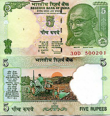 INDIA 5 Rupees Banknote World XF Currency Money BILL Asia p94A Note Gandhi L