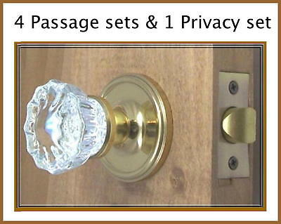 Lot of Five (5)Fluted Depression Crystal Door Knob Sets-Best hardware-EZ Install