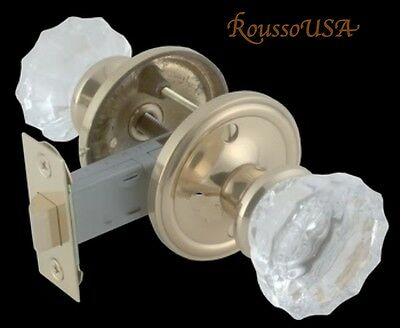 Lot of Five (5)Fluted Crystal Glass & Brass Residential  PASSAGE Door Knob Set