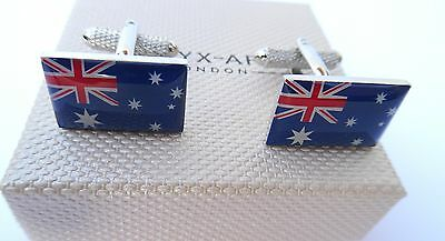 "AUSTRALIA'S ""AUSTRALIAN FLAG"" METAL Silver Style BOXED CUFF LINKS-NEW"