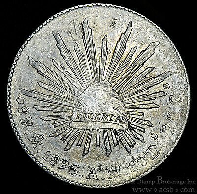 Mexico 8 Reales 1896 MoAM silver KM#377.10 First Republic Better Mint.