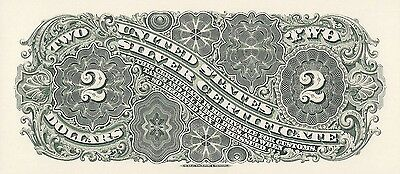 Proof Print by the BEP - Back of 1886 Two Dollar Silver Certificate