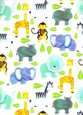 ZOO ANIMALS BABY PARTY CHILDRENS GIFT WRAPPING PAPER - 30 Ft Roll