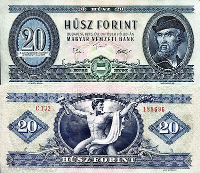 """HUNGARY 20 Forint Banknote World Paper Money Currency p169f """"XF"""" BILL 1975 Note"""