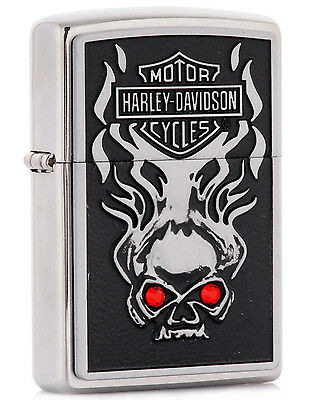 Zippo Harley Davidson Skull w/ Red Crystal Eyes Lighter Model 28267 * NEW*