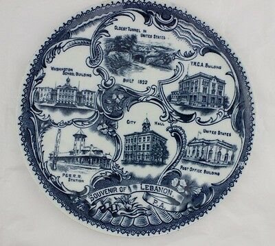 Antique LEBANON PA SOUVENIR Plate Wheelock England Flow Blue Vintage China Dish