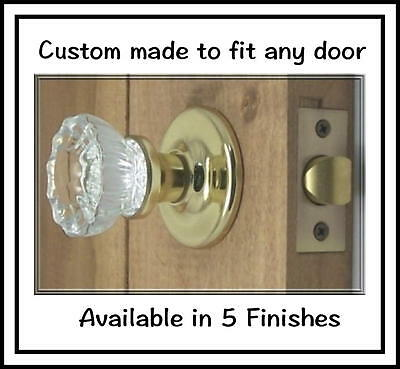 LOT OF TWO FINE 12point Fluted Depression Crystal Door Knob Sets-MADE IN USA