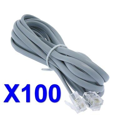 (Lot/Pack of 100) NOKO 7Ft RJ11 (4C) Modular Telephone Cable, Reverse