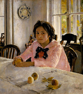 Girl with peaches. Portrait of V.S. Mamontova Serow Mädchen Pfirsiche B A3 03422