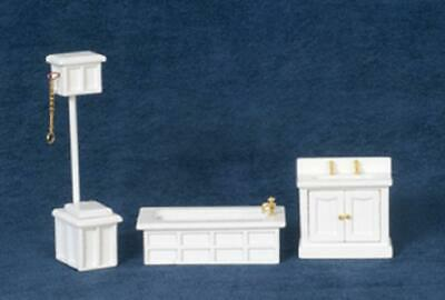 Dolls House Miniature 1:24 Scale White Victorian Bathroom Furniture Set Suite