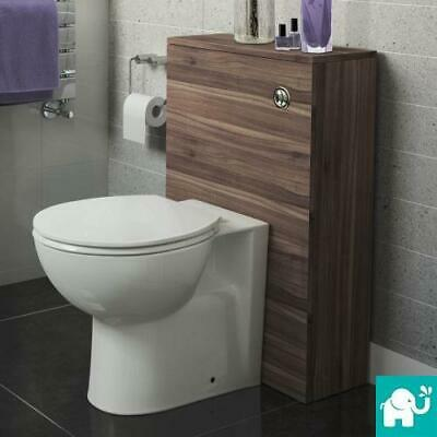 Modern Bathroom Walnut Cistern Unit & Compact Back To Wall Ceramic Toilet WC
