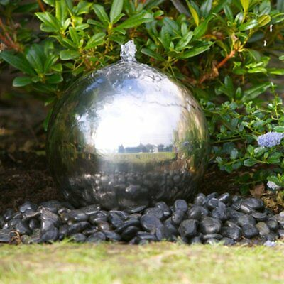 30cm Sphere Stainless Steel Modern Garden Patio Water Feature with LED Lights